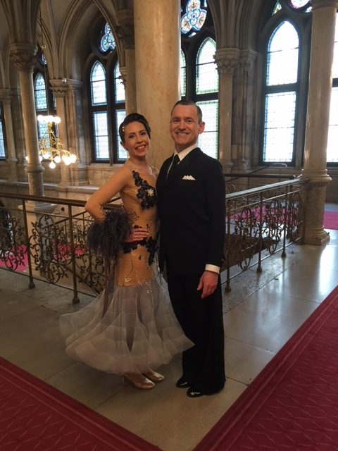 Michael und Larissa Haul im Wiener Rathaus beim WDSF-Turnier